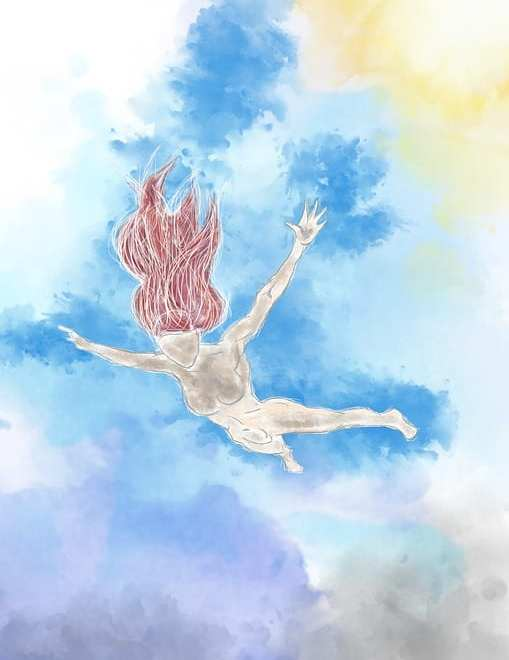 watercolour naked lady doing a leap of faith for the post All it takes is one leap of faith