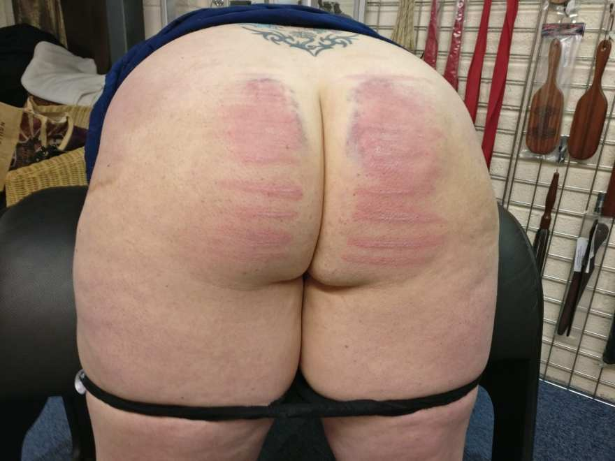 Bare bottom after a good caning.