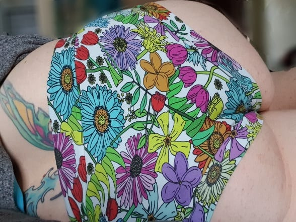 Superbooty Floral knickers, worn rear view