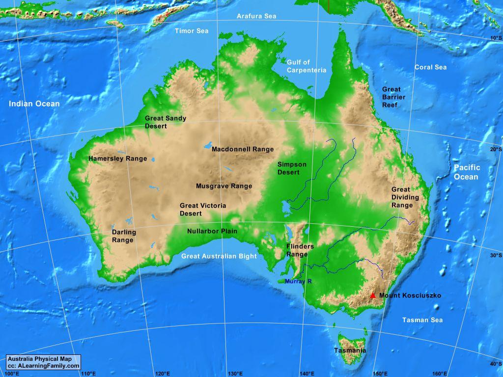 Australia Physical Map
