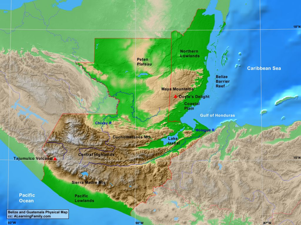 Belize And Guatemala Physical Map