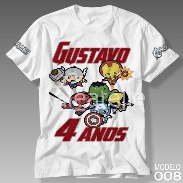 Camiseta Vingadores Festa Infantil