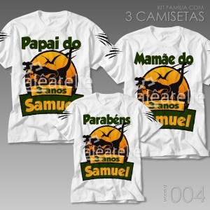 Kit 3 Camisetas Dinossauro Aniversário