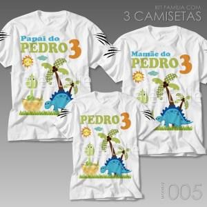 Kit 3 Camisetas Dinossauro Personalizadas