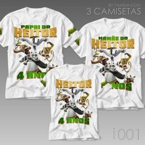 Kit 3 Camisetas Kung Fu Panda 001