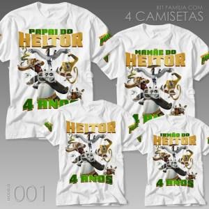Kit 4 Camisetas Kung Fu Panda