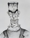 Ink drawing Frankenstein's Monster