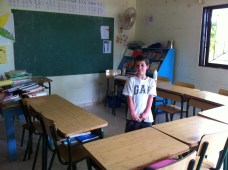 Ulysse dans sa classe de primaire à Rio San Juan