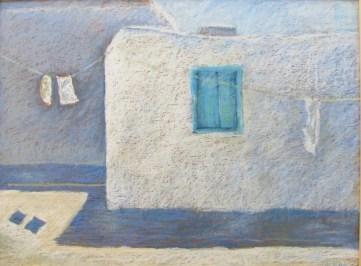 """Blue Shutters Greece, 18"""" x 24"""""""