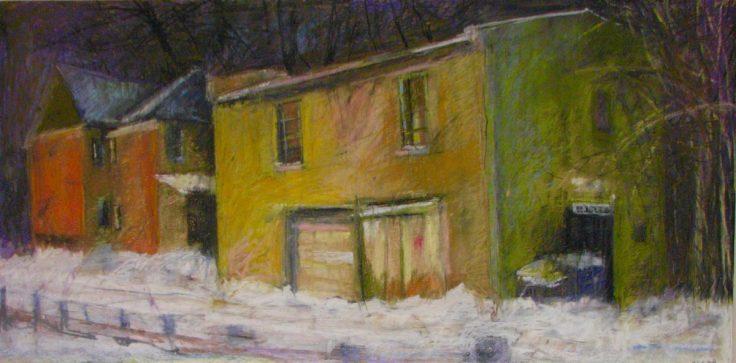 "Yellow House Winter 24"" x 36"""
