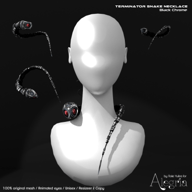 Vendor ALEGRIA [Apocaliptica] Terminator Snake Necklace Black Chrome