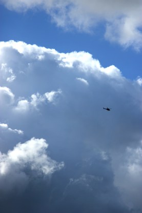 Helicopter in the clouds