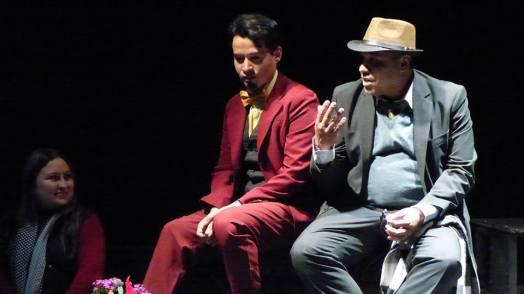 La directora Yacqueline Salazar y los actores Alejandro Londoño y Edwin Posada en el Porfirio Barba Jacob