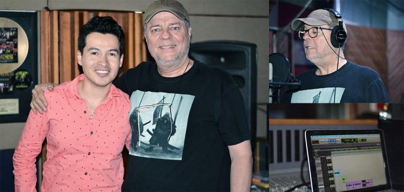 Alejandro Londoño y el actor Carlos Arango en el estudio, grabando para RESAXE