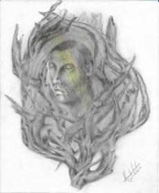 Título: Esencia 3 Serie: Esencia Técnica: Grafito y lápices de colores Artista: Alejandro Londoño