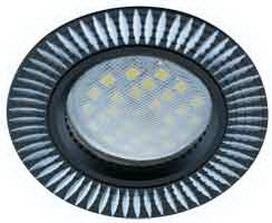 Ecola Рифленные реснички Черный алюминий + лампа 7 ватт Image