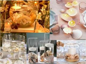 Shell centerpieces. Especially love these DIY shell candles.