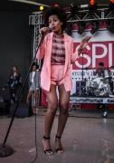 solange-knowles-2013-sxsw-clover-canyon-rhinestone-shorts-jacket-marni-bird-check-shirt-nicholas-kirkwood-sandals