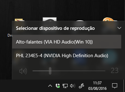 Exemplo de escolha de dispositivo de som no Windows 10