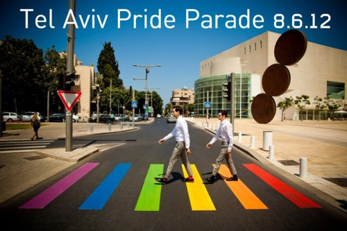 To celebrate the start of Tel Aviv's Pride Festival, they briefly rainbowed up a zebra crossing near HaBimah Theatre. The Festival culminates with the Pride march on June 8 2012 | Yediot Achronot