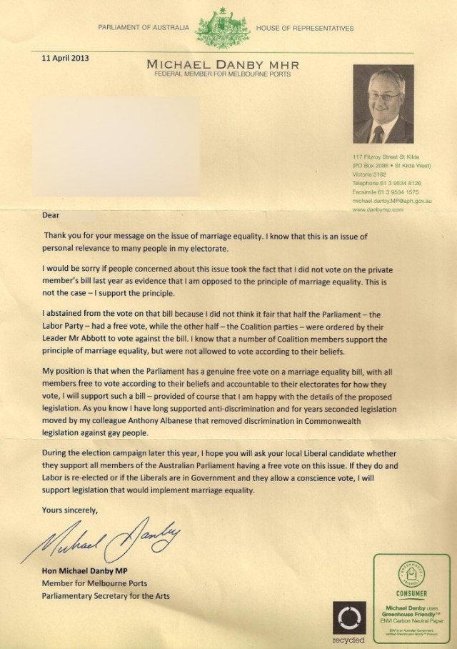 Michael Danby letter on Marriage Equality - April 11 2013