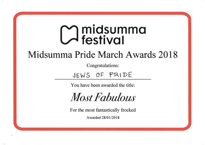 "2018 Midsumma Pride March ""Jews of Pride"" Most Fabulous award"