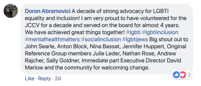 Doron Abramovici comment on JCCV LGBTI achievements - Jul 20 2018.png