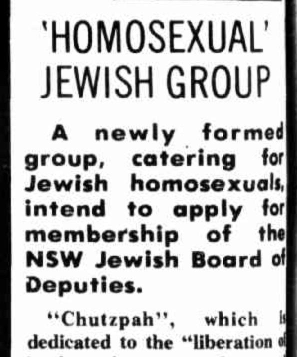 1974-1982 in the AJN: 'Chutzpah' – the Australian Jewish gay men's group