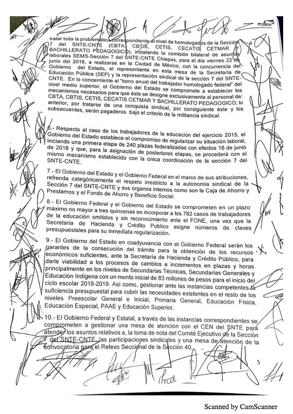 Luego de asegurarse que no serán evaluados, maestros de Chiapas levantan paro Minuta 20185