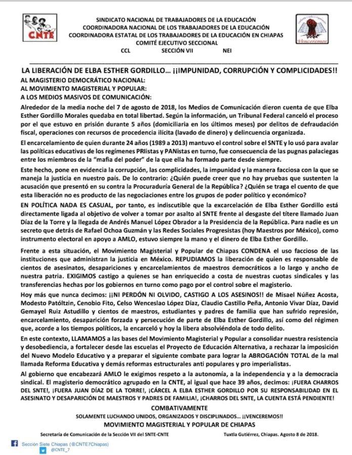 Sección 7 del SNTE repudia la liberación de Elba Esther Gordillo WhatsApp Image 2018 08 09 at 6.11.09 PM