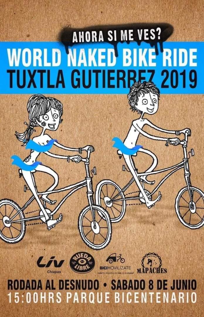 En bici y desnudos, recorrerán Tuxtla