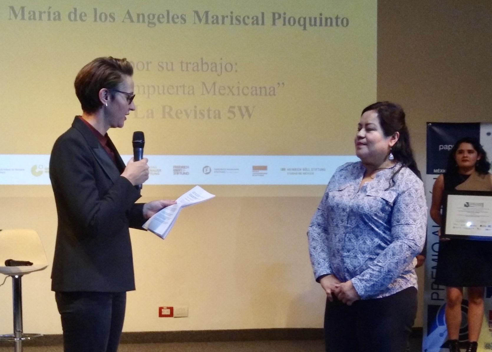 Periodista Ángeles Mariscal gana Premio Alemán de Periodismo