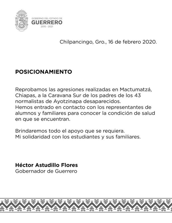 Desalojan policías con gases a padres de 43 de Ayotzinapa en Chiapas WhatsApp Image 2020 02 16 at 1.05.26 PM