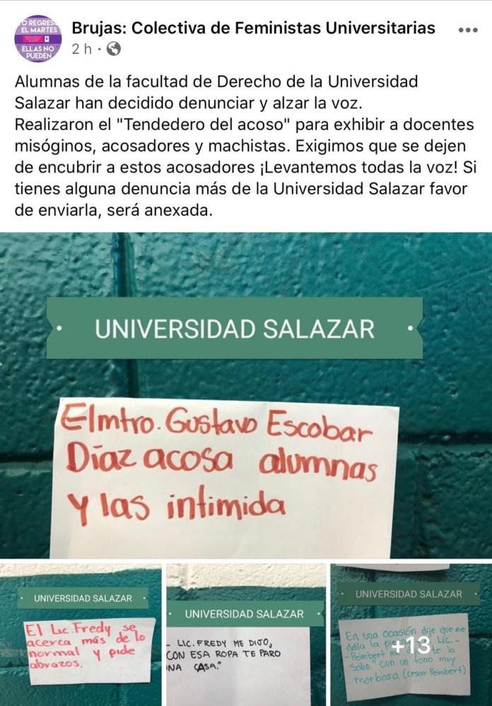 Alumnas de la Salazar exhiben a allegados de Emilio Salazar por acoso 3287ed8e 64d7 43bf 9e4f 562cc2007e26