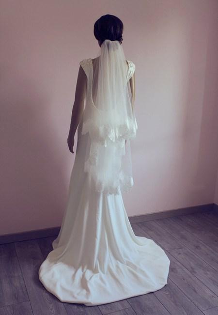 Voile de mariée courte dentelle avec 2 couches