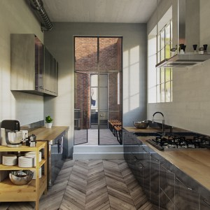 Corona Render 3d interior kitchen free download aleso3d