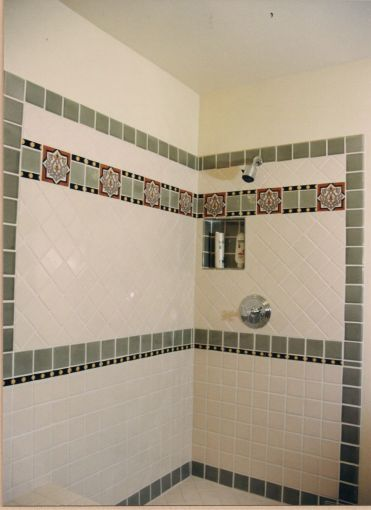 Alessandra Haines   Custom Ceramic Tile Shower with Alhambra Deco