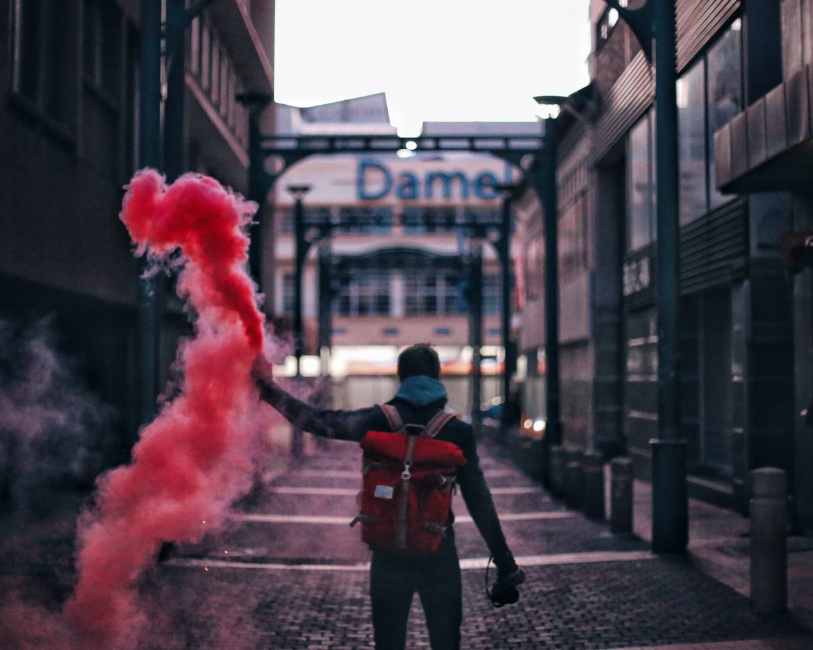 Red Smokebomb on Church Square