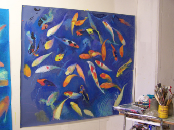 studio view of koi drawing