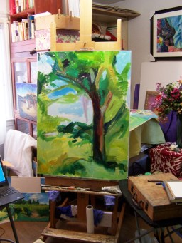 painting on the easel pine