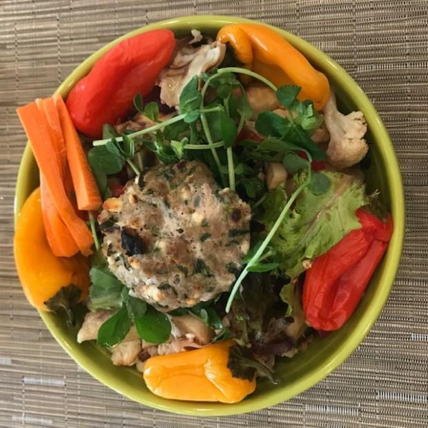 Mediterranean Turkey Burger bowl