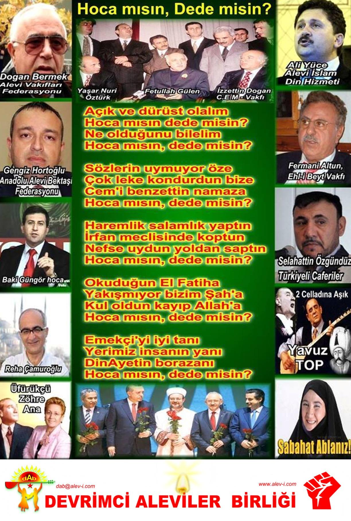 Alevi Bektaşi Kızılbaş Pir Sultan İslam dışı Atatürk faşist Devrimci Aleviler Birliği DAB dede pir