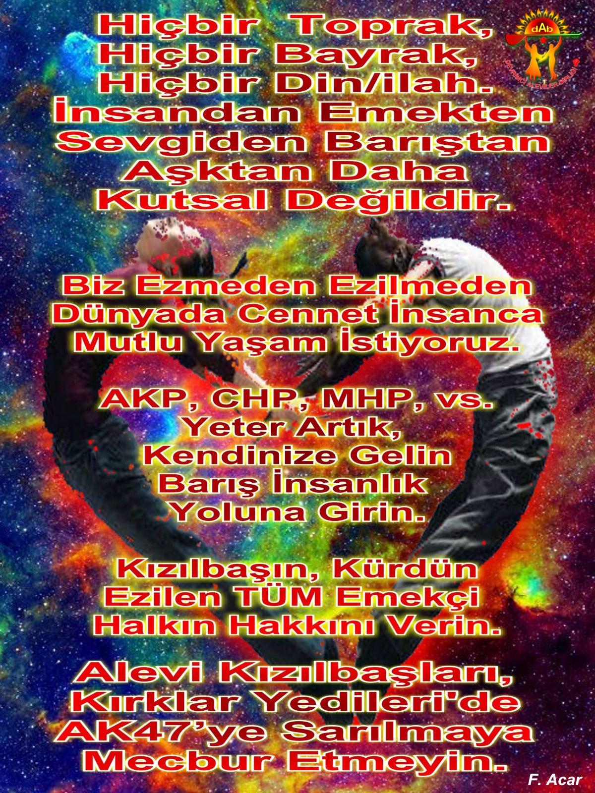 Alevi Bektaşi Kızılbaş Pir Sultan Devrimci Aleviler Birliği DAB mecbur etmeyin