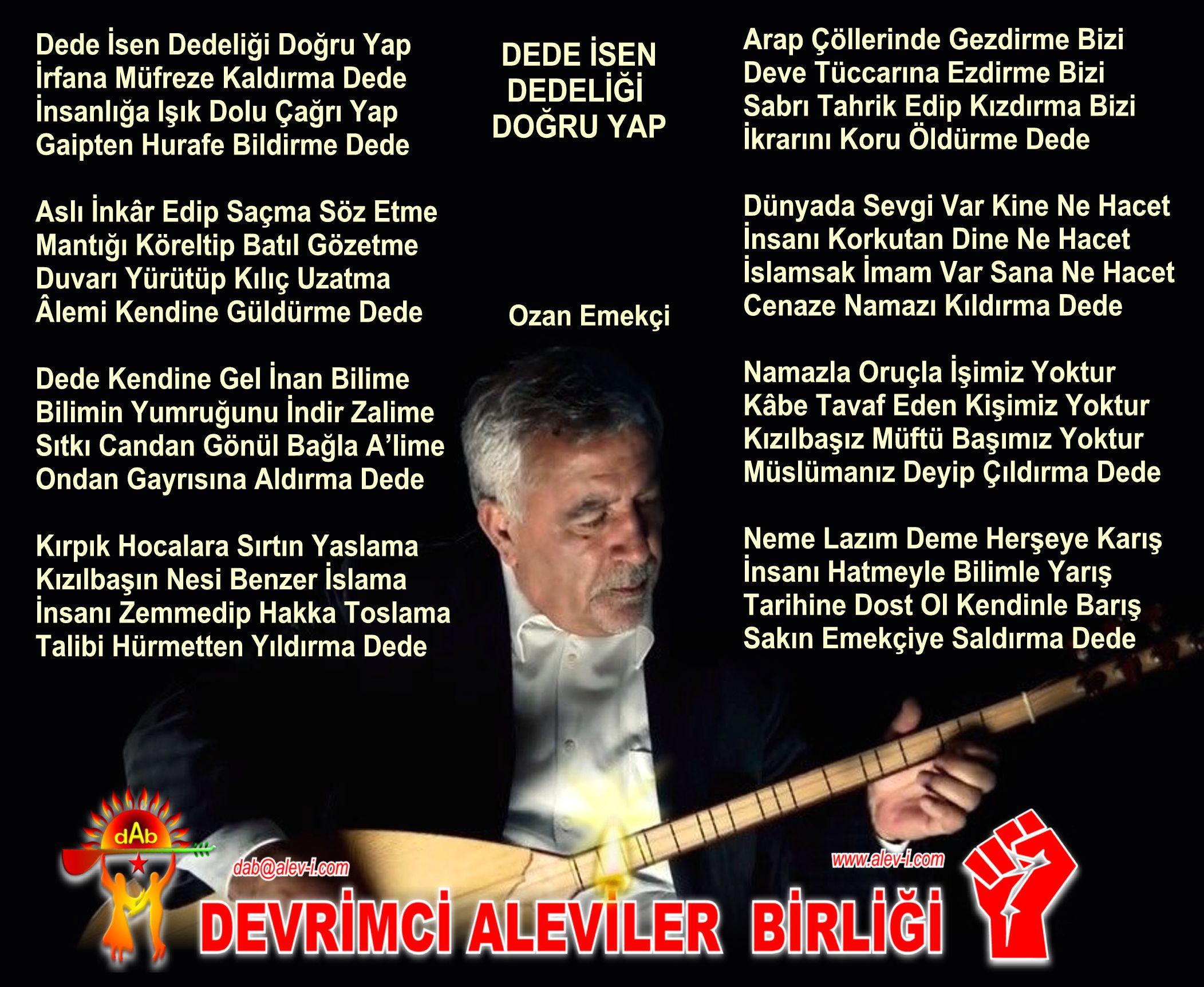 Devrimci Aleviler Birliği DAB Alevi Kızılbaş Bektaşi pir sultan cem hz Ali 12 imam semah Feramuz Şah Acar emekci ozan dede