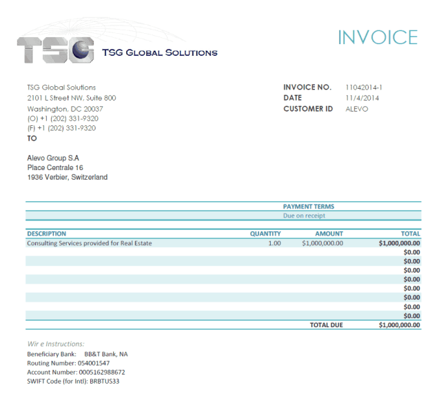 "TSG Global Solutions invoice for ""Real Estate"" to Alevo Group S.A. for $1,000,000"