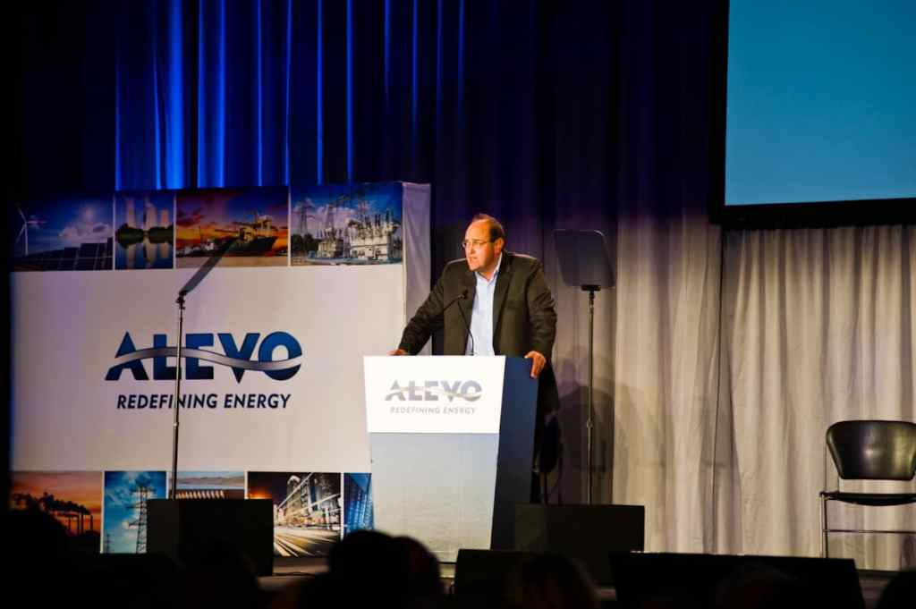 Julian Tanner talking at the Alevo opening ceremony