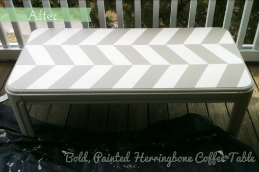 Bold, Painted Herringbone Coffee Table