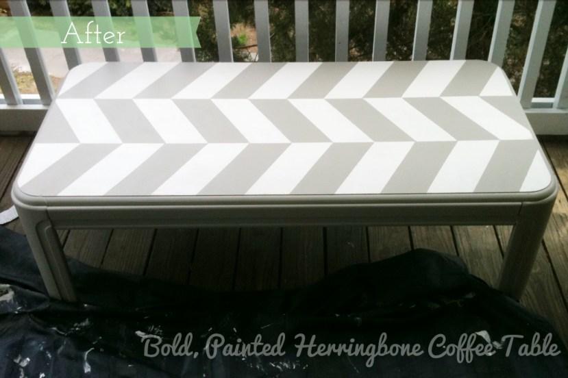 Bold, Painted Herringbone Coffee Table