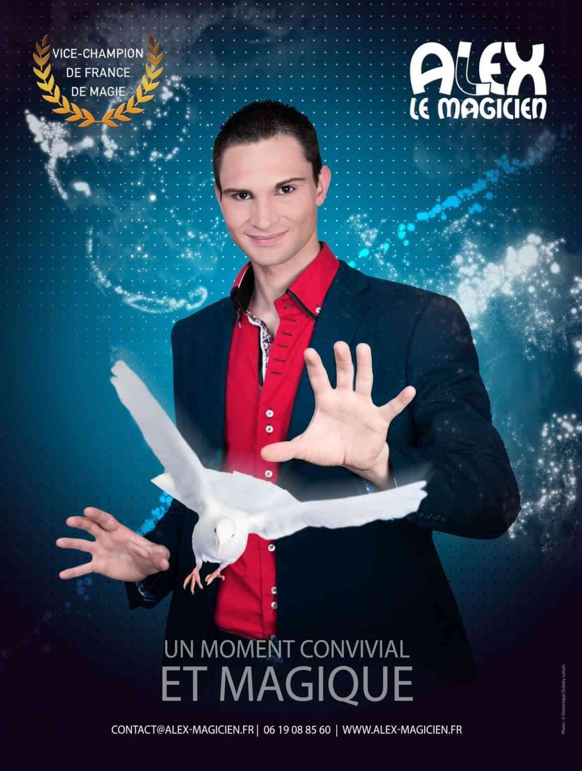 Affiche spectacle de magie Alex le magicien