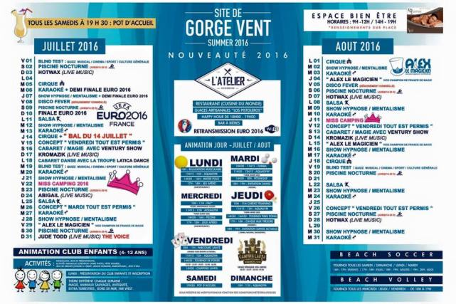 Programme animation camping fréjus gorge vent